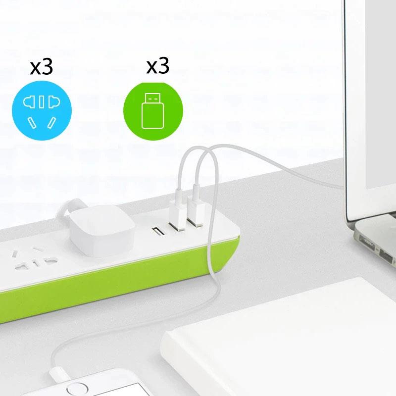Ổ cắm dài BroadLink MP2 tích hợp cổng sạc USB, kết nối Wifi